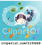 Clipart Of A Boy Scuba Diver Swimming With Sea Turtles And Fish Royalty Free Vector Illustration