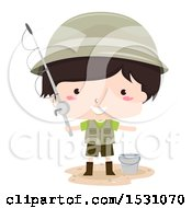Clipart Of A Boy Fisherman Holding A Pole And Standing By A Bucket Royalty Free Vector Illustration