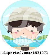 Clipart Of A Fisherman Boy Holding A Catch Royalty Free Vector Illustration