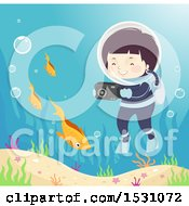 Clipart Of A Boy Scuba Diver Taking Pictures Of Fish Royalty Free Vector Illustration