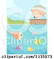 Clipart Of A Boy Fishing From A Boat With Fish Surrounding Bait Royalty Free Vector Illustration