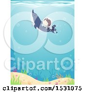 Clipart Of A Boy Scuba Diver Swimming With A Dolphin Royalty Free Vector Illustration