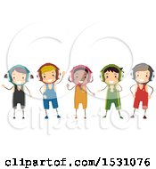 Clipart Of A Group Of Boys In Wrestling Uniforms Royalty Free Vector Illustration