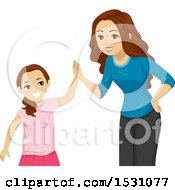 Clipart Of A Teen Girl Giving Her Sister A High Five Royalty Free Vector Illustration