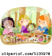 Clipart Of A Group Of Girls Making Forest Crafts Royalty Free Vector Illustration