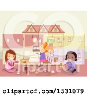 Clipart Of A Group Of Girls Playing With A Doll House And Furniture Royalty Free Vector Illustration