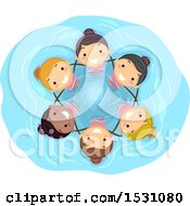 Clipart Of A Group Of Girls Performing Synchronized Swimming Royalty Free Vector Illustration