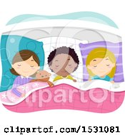 Clipart Of A Girls Asleep At A Slumber Party Royalty Free Vector Illustration