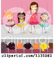 Clipart Of A Crowned Beauty Pageant Winner And Competition On Stage Royalty Free Vector Illustration by BNP Design Studio