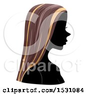 Clipart Of A Silhouette Female Profile With Highlighted Hair Royalty Free Vector Illustration