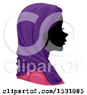 Poster, Art Print Of Silhouette Female Profile With A Muslim Hijab