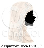 Poster, Art Print Of Silhouette Female Profile With A Muslim Wedding Veil
