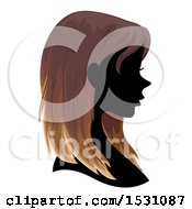 Clipart Of A Silhouette Female Profile With Ombre Hair Royalty Free Vector Illustration