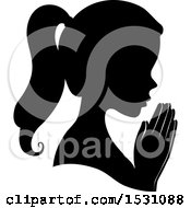 Clipart Of A Silhouette Female Profile With Praying Hands Royalty Free Vector Illustration