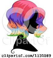 Clipart Of A Silhouette Female Profile With Rainbow Hair Royalty Free Vector Illustration