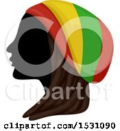 Clipart Of A Silhouette Female Profile With Dreadlocks And A Rastafarian Hat Royalty Free Vector Illustration