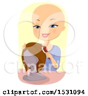 Clipart Of A Bald Woman Brushing Her Wig Royalty Free Vector Illustration