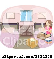 Clipart Of A Teen Girl Reading A Packing List In Her Dorm Room Royalty Free Vector Illustration