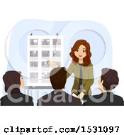 Clipart Of A Teen Girl Presenting A Story Board Royalty Free Vector Illustration by BNP Design Studio
