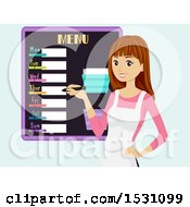 Clipart Of A Teen Girl Writing Out A Weekly Menu Royalty Free Vector Illustration by BNP Design Studio