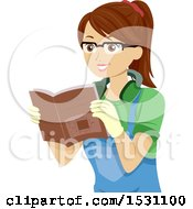 Clipart Of A Teen Girl Reading A Book On Woodworking Royalty Free Vector Illustration