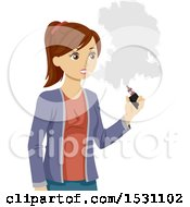 Clipart Of A Teen Girl Vaping Royalty Free Vector Illustration by BNP Design Studio