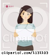 Clipart Of A Sad Teen Girl Holding A Sign And Discussing Bullying On Video Royalty Free Vector Illustration