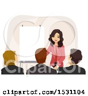 Clipart Of A Teen Girl Giving A Presentation Royalty Free Vector Illustration