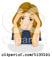 Clipart Of A Stressed Teen Girl Holding Her Face In Her Hands Royalty Free Vector Illustration