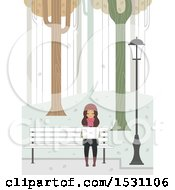 Clipart Of A Teen Girl Using A Laptop On A Park Bench On A Winter Day Royalty Free Vector Illustration by BNP Design Studio