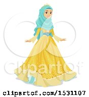 Clipart Of A Muslim Teen Girl In A Princess Gown Royalty Free Vector Illustration