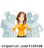 Clipart Of A Teen Girl Leading A Group Royalty Free Vector Illustration by BNP Design Studio