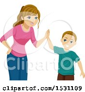Clipart Of A Teen Girl Giving Her Brother A High Five Royalty Free Vector Illustration