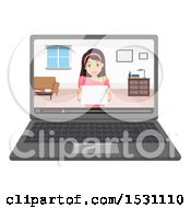 Clipart Of A Teen Girl Holding A Sign And Vlogging On A Laptop Royalty Free Vector Illustration