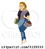 Clipart Of A Chubby Teen Girl Student Royalty Free Vector Illustration