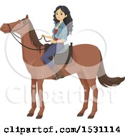 Clipart Of A Teen Girl On A Horse Royalty Free Vector Illustration