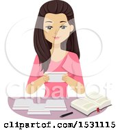 Clipart Of A Teen Girl Studying With Note Cards Royalty Free Vector Illustration
