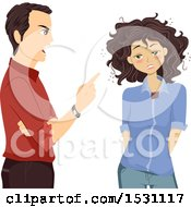 Clipart Of A Father Scolding His Drunk Teen Daughter Royalty Free Vector Illustration