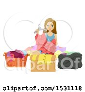 Clipart Of A Teen Girl Organizing Her Clothes Royalty Free Vector Illustration