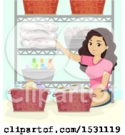Clipart Of A Teen Girl Organizing A Bathroom Shelf Royalty Free Vector Illustration