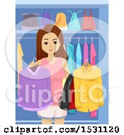 Clipart Of A Teen Girl Holding Clothes In A Closet Royalty Free Vector Illustration