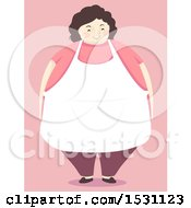 Happy Chubby Mother Wearing An Apron Over Pink