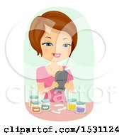 Clipart Of A Happy Woman Using A Label Maker For Jars Royalty Free Vector Illustration by BNP Design Studio