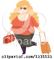Clipart Of A Happy Chubby Woman Traveler Royalty Free Vector Illustration by BNP Design Studio