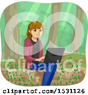 Clipart Of A Happy Young Woman Using A Laptop In The Woods Royalty Free Vector Illustration by BNP Design Studio