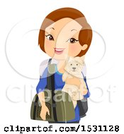 Happy White Woman Traveler Holding Her Dog