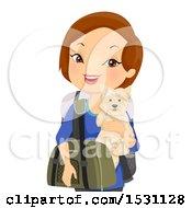 Happy White Woman Traveler Holding Her Dog