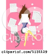 Clipart Of A Female Author Writing A Journal Or Story With Her Cat On Pink Royalty Free Vector Illustration