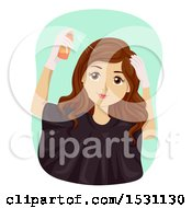 Young Woman Applying Product To Her Hair