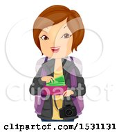 Clipart Of A Happy Woman Traveler Getting Money From Her Wallet Royalty Free Vector Illustration